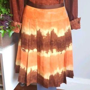 Anne Klein orange & brown pleated skirt, 8